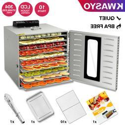 KWASYO 10 Tray 1000W Stainless Steel Food Dehydrator Vegetab