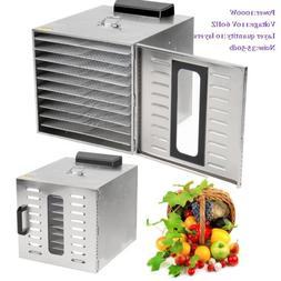 10 Tray Food Dehydrator Beef Jerky Fruit Dryer Racks Kitchen
