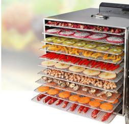10 Tray Food Dehydrator Stainless Steel Fruit Jerky Dryer Bl