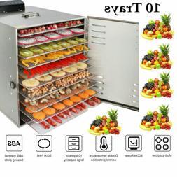 1000W 10Tray Food Dehydrator Stainless Steel Fruit Jerky Dry