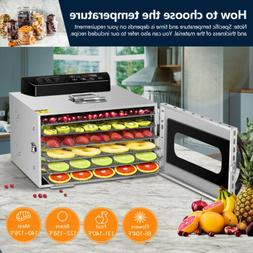 6 Tray Digital Electric Food Dehydrator Stainless Fruit Drye