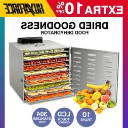 6/10 Tray Food Dehydrator Stainless Steel Fruit Dryer Jerky