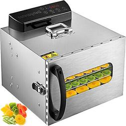 6-Tray Food Dehydrator Machine with Stainless Steel Racks Fr