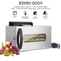 6 Tray Food Dryer Dehydrator Machine w/Digital Control Stain
