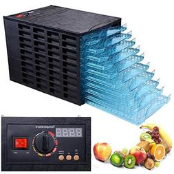 Black 630W 10 Tray Electric Commercial Home Dehydrator Digit