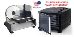 "KMK Electric 7.5"" food Slicer & 6 trays Dehydrator bundle!"