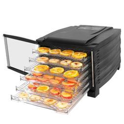 Electric Food Fruit Dehydrator 6 Tray Black Vegetable Dryer