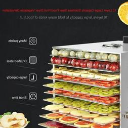 Food Dehydrator 10 Tray Stainless Steel Fruit Jerky Meat Dry