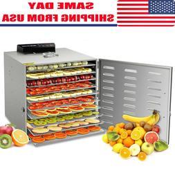 Food Dehydrator 10 Tray Stainless Steel Fruit Jerky Meat Dry