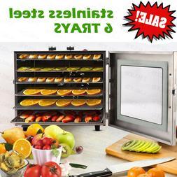 Food Dehydrator 6-Tier Stainless Steel Fruit Jerky Meat Drye