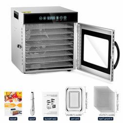 KWASYO Food Dehydrator Machine 8-Tray Stainless Steel Racks,
