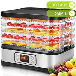 Food Dehydrator Machine Jerky with Timer, Five Tray, LCD Dis