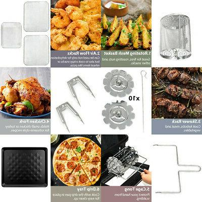 19 QT Multi-functional Fryer Oven 1800W Rotisserie 8 1