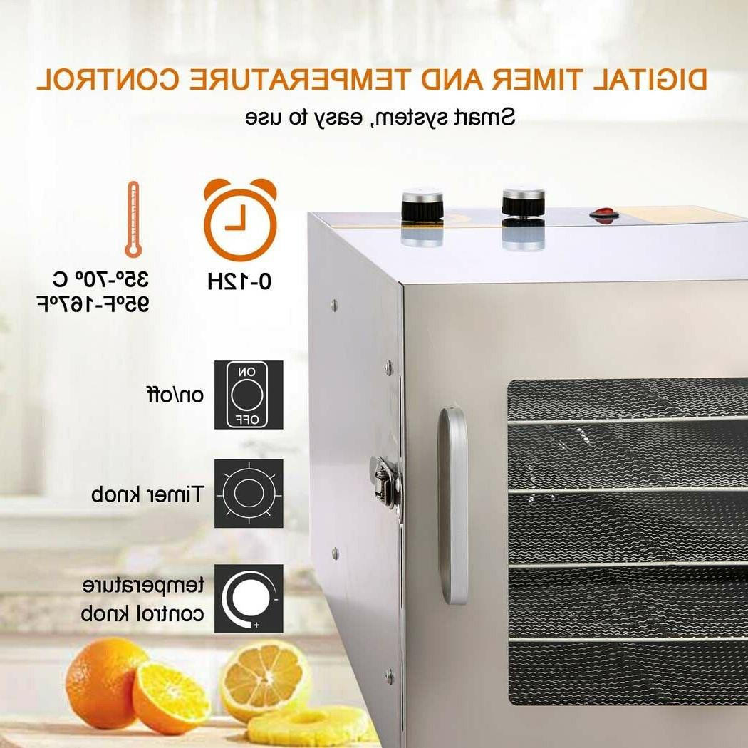 5-8 Trays Stainless Food Dehydrator Jerky Dryer Fruit