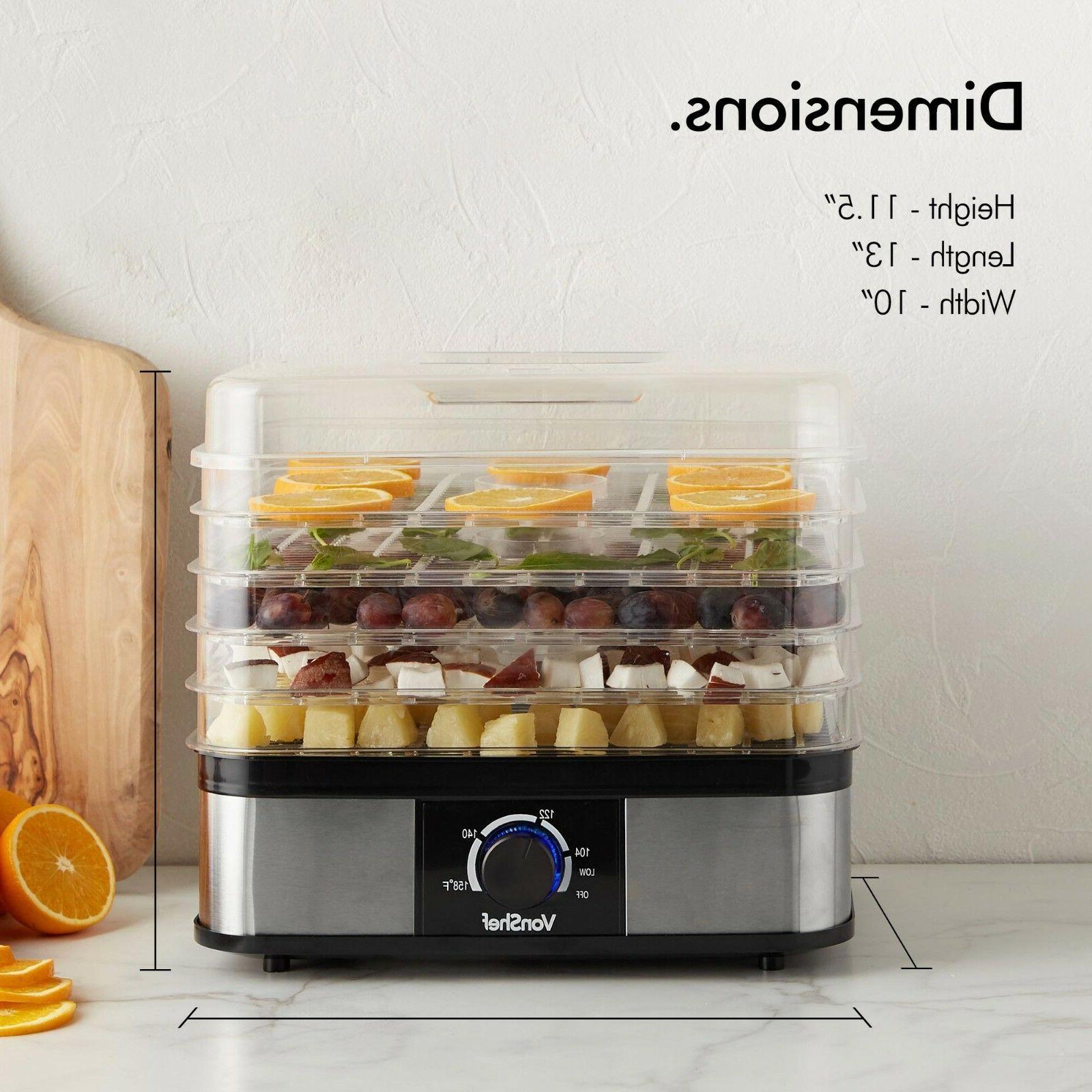 VonShef 5 Food Dehydrator Electric Food Preserver Fruit Jerky