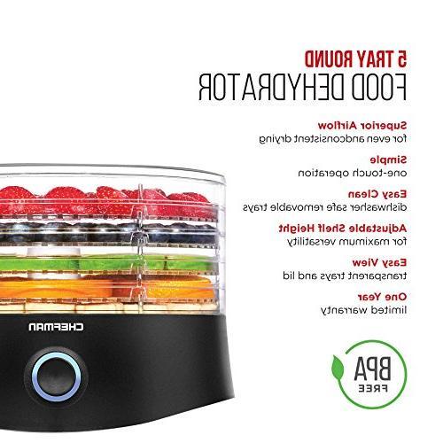 Chefman 5 Food BPA-Free Electric Multi-Tier Preserver, Meat or Beef Maker, Vegetable Diameter Height