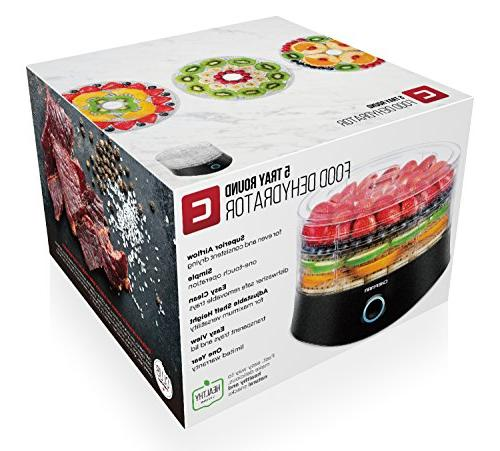 Chefman Tray Food Dehydrator, Electric Multi-Tier Meat Jerky Maker, Fruit, & Vegetable Diameter x Height