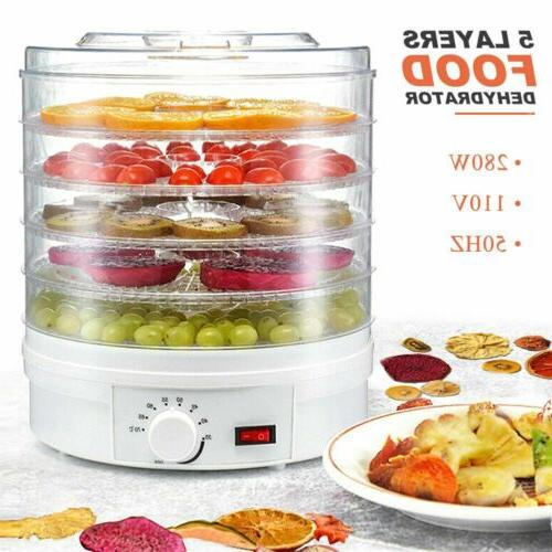 5 trays food dehydrator fruit vegetable meat