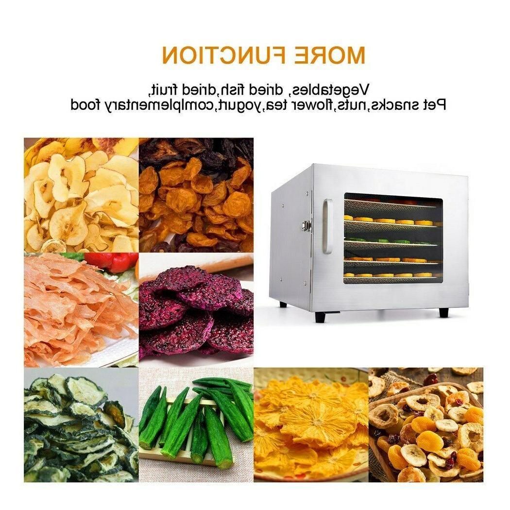 6 Tray Food Dehydrator Machine Stainless Steel Racks Meat /F