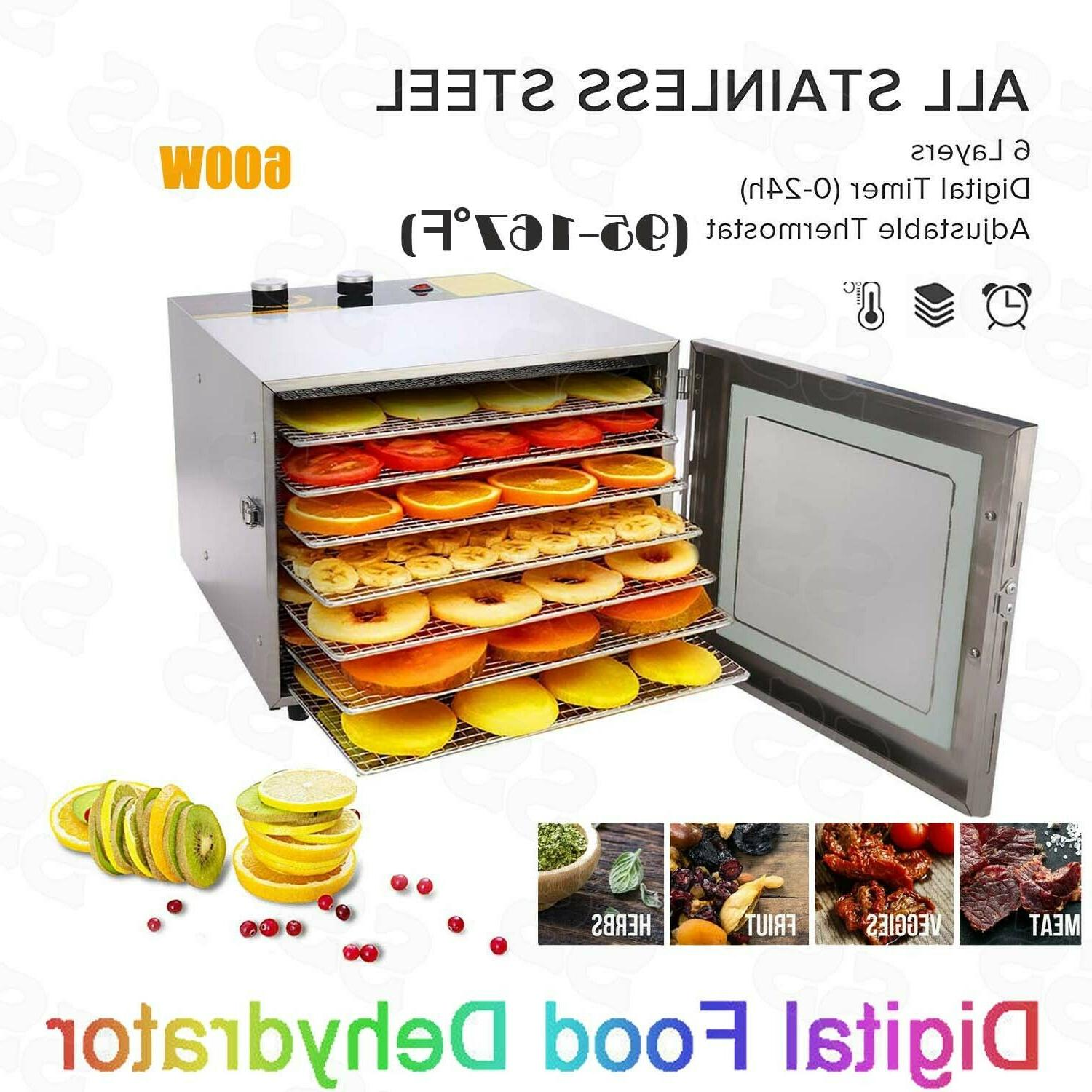 homdox 6 trays food dehydrator fruit vegetable