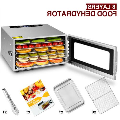 6 tray food dehydrator with stainless steel