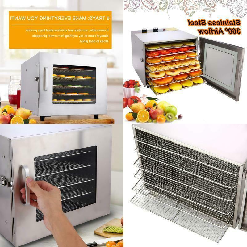6 trays food dehydrator machine premium stainless