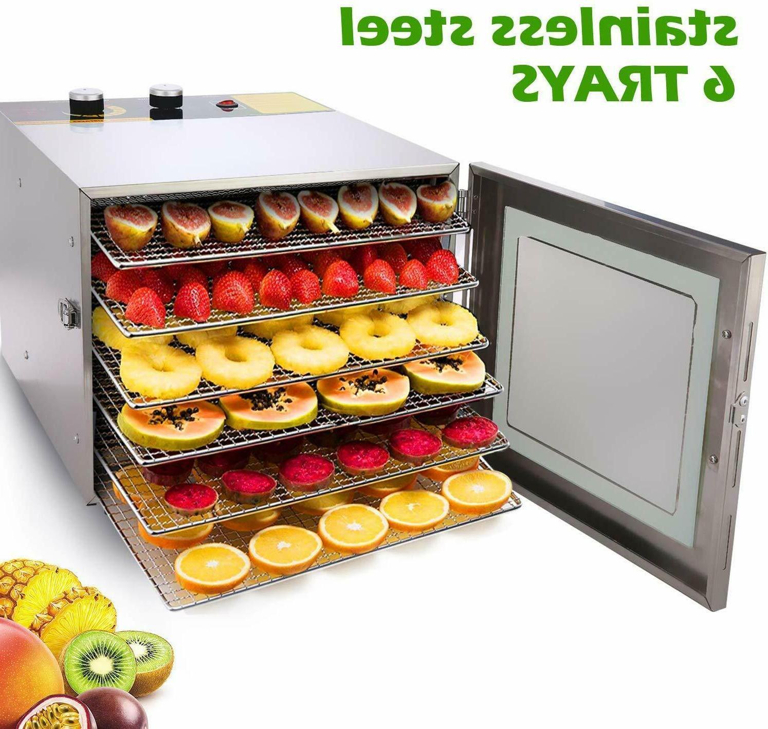 6 Tray Dehydrator Machine Stainless Steel Racks Healthy Fruit Jerky US