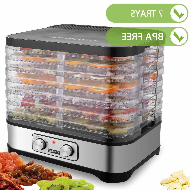 7 Tray Food Dehydrator Stainless Steel Fruit Jerky Dryer Blo