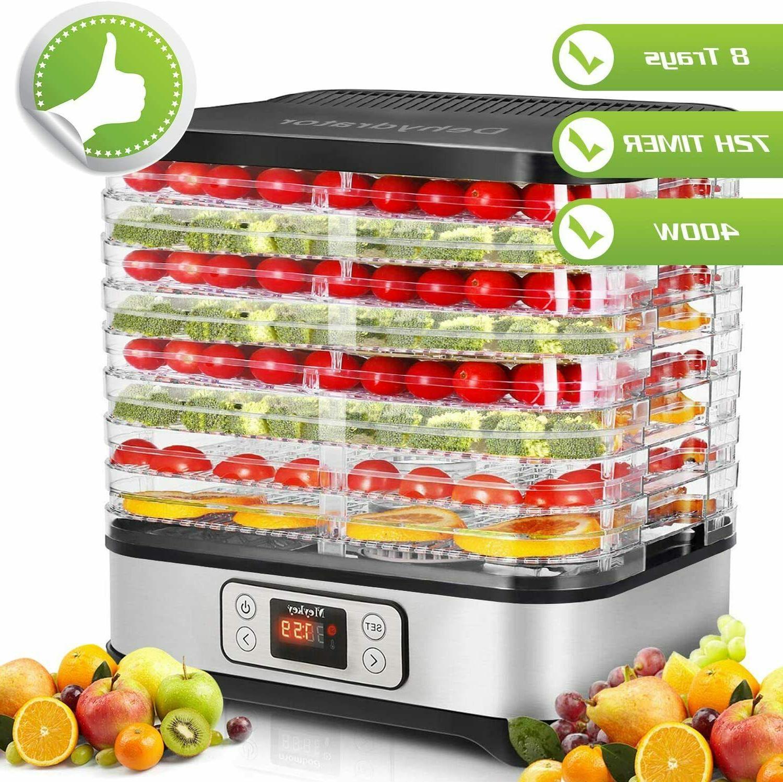 8 Trays Food Dehydrator Machine, 72H Digital Timer for Jerky
