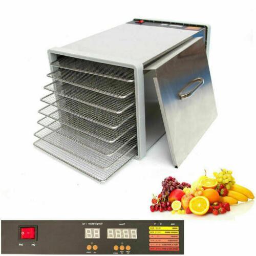 8 tray stainless steel food dehydrator jerky