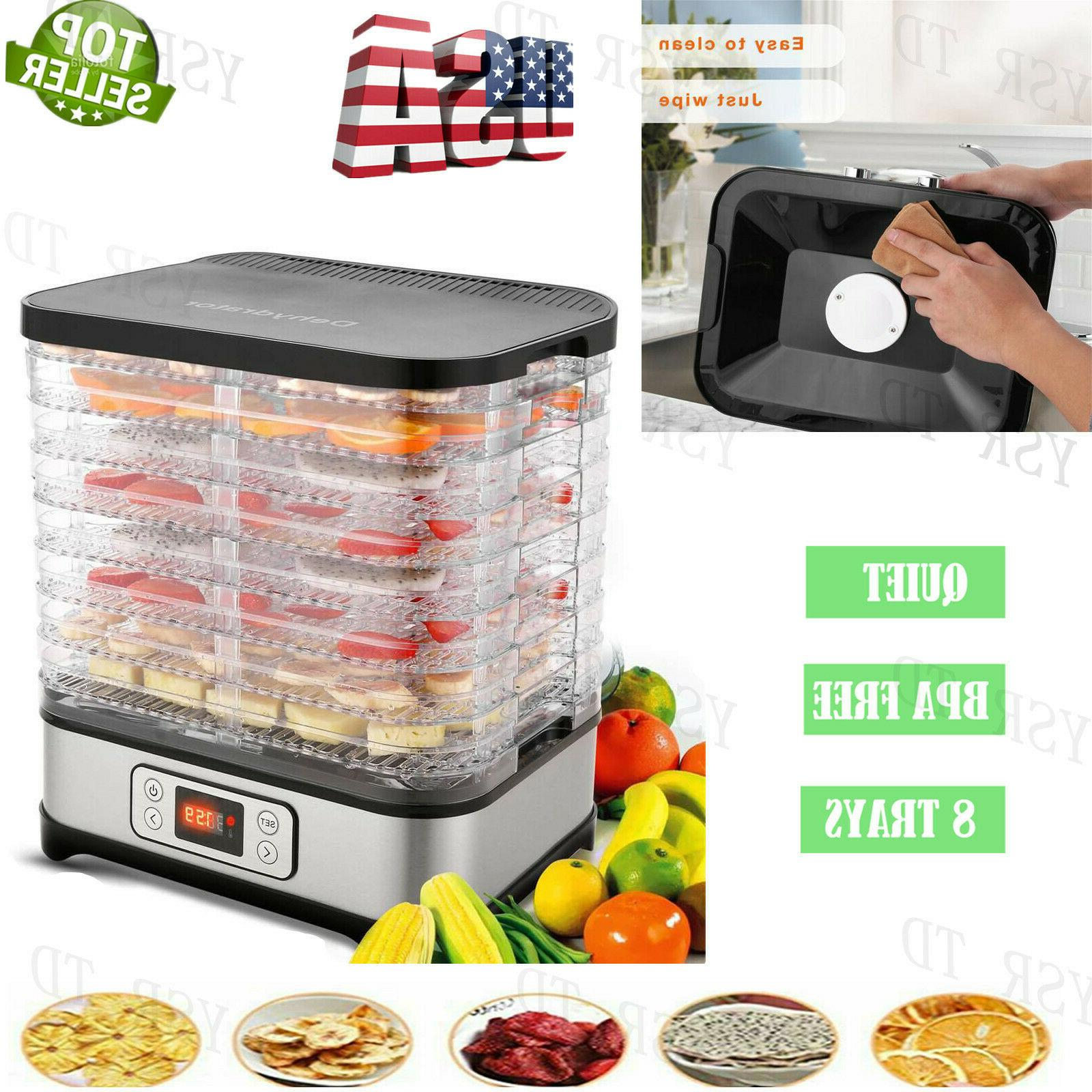 5-8 Tier Electric Food Dehydrator Machine Fruit Dryer Beef J