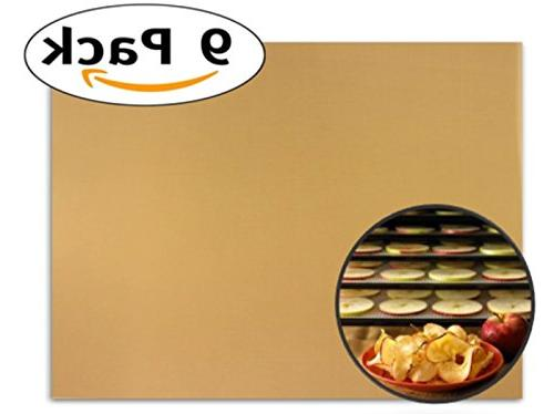 "Globalis- 9 Super Non-stick, Teflon Re-usable Food Dehydrator Sheets for Excalibur 3500, Sheet Measures X 14"" Fits and 9 Trays."
