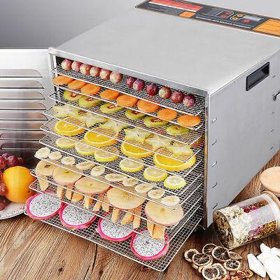 New Commercial 10 Tray Stainless Steel Food Fruit Jerky Drye
