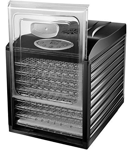 Chefman Professional Multi-Tier Preserver, Meat Beef Jerky Maker, Vegetable 9 Slide Out Trays & Glass Door