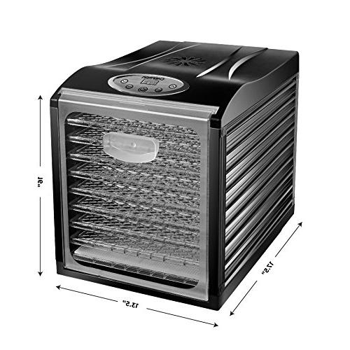 Chefman Food Machine Professional Preserver, Meat or Jerky Maker, Fruit & Vegetable Dryer Slide Glass Door
