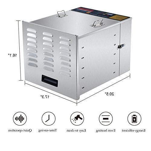 CO-Z Steel Food Dehydrator Machine, Jerky Maker, Fruit with 10 Trays, Degree Jerky with 1000W