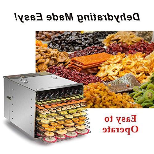 CO-Z Steel Dehydrator Machine, Meat or Jerky with 10 Trays, with 15 1000W