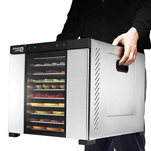 Magic Xl Steel 10 Tray Food Dehydrator with Timer For Jerky, Dried Fruits, Includes