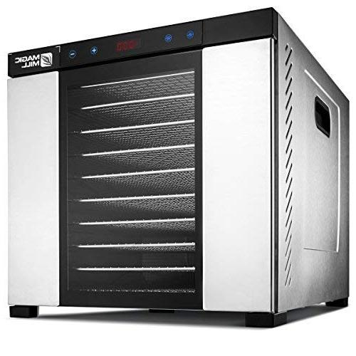 Magic Mill Commercial pro Xl Stainless Steel 10 Dehydrator with digital For Beef Dried Fruits, Includes Bundle Of