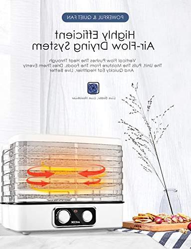Dehydrator Aicok, Professional Food Dehydrator, Dehydrator Machine with Extensible Capacity, 95-158ºF for Fruit, & BPA 240W