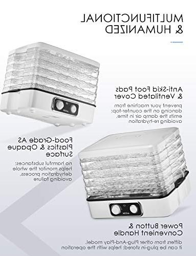 Dehydrator Aicok, Professional 5-Tray Food Dehydrator with Extensible Capacity, 95-158ºF for Beef Jerky, Fruit, Vegetable & 240W