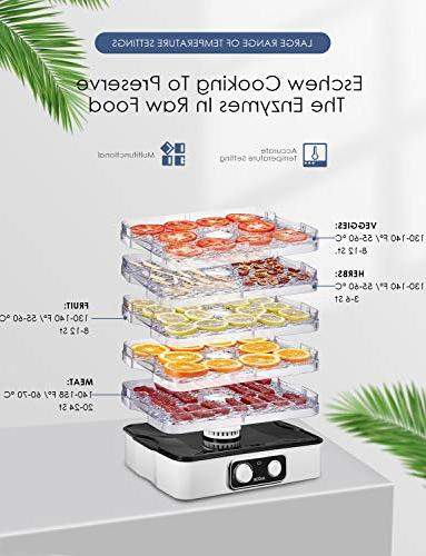 Dehydrator Aicok, Professional Food 95-158ºF for Beef Fruit, Vegetable 240W