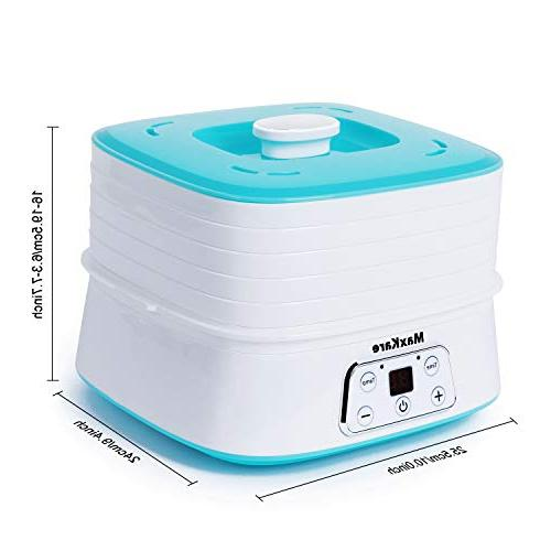 MaxKare Electric Dehydrator, Digital Food Device Temperature Time Setting, Dried Maker, 5 Removable Stackable 210-260 watts, BPA Free