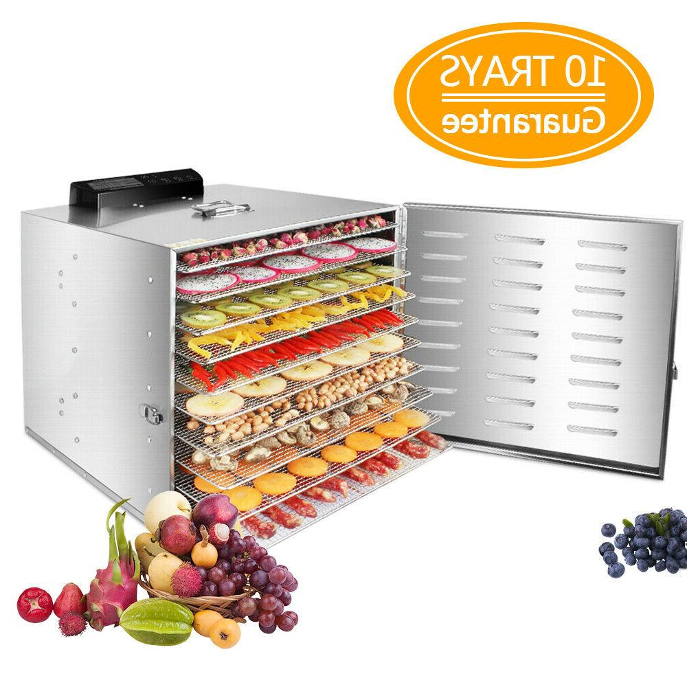 Home Food Dehydrator 10 Tray Stainless Steel Fruit Jerky Dry