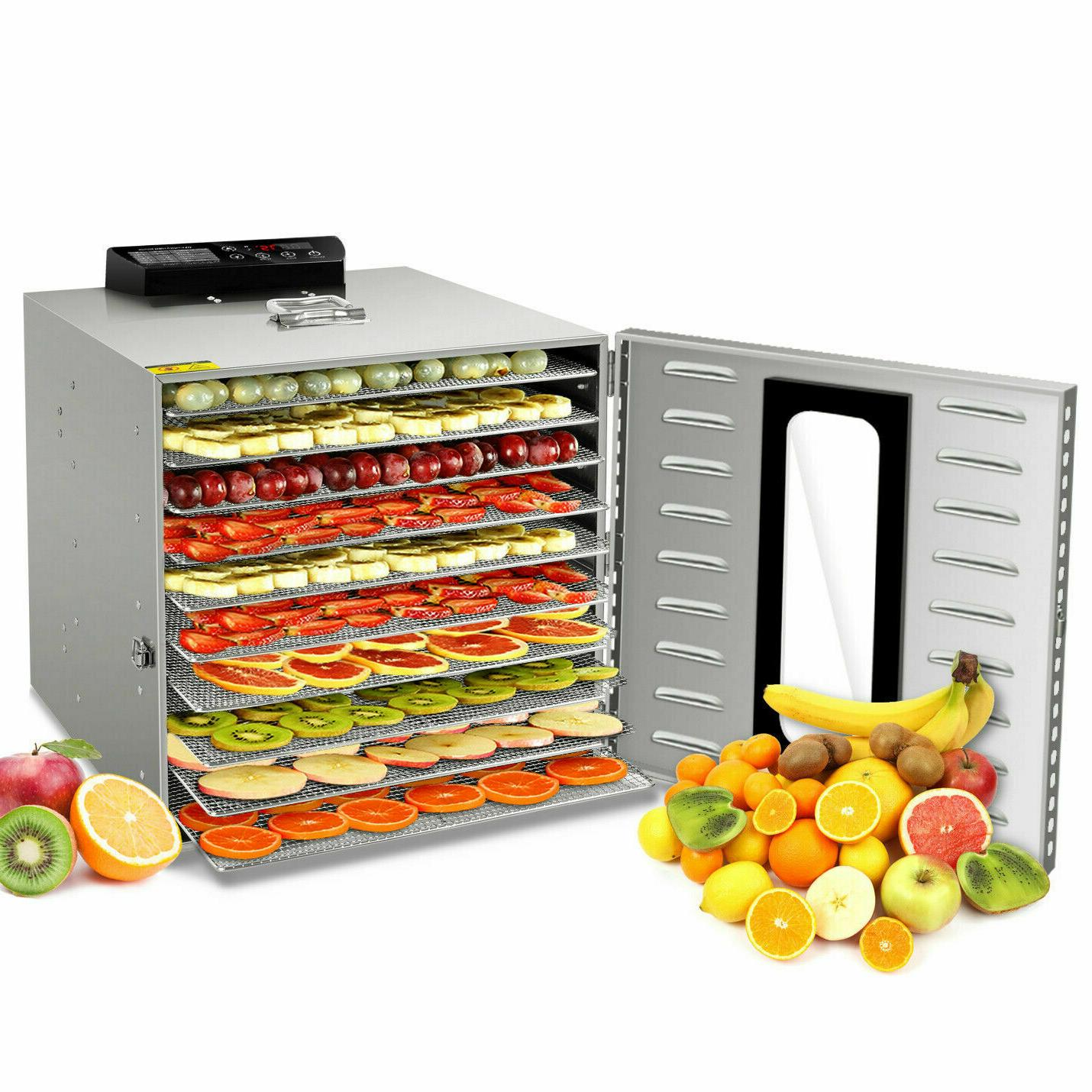Food Dehydrator 10 Tray Stainless Steel Fruit Jerky Meat Dryer Blower