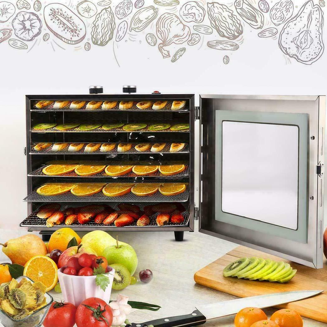 6 Tray Food Dehydrator Machine Stainless Steel Racks Healthy
