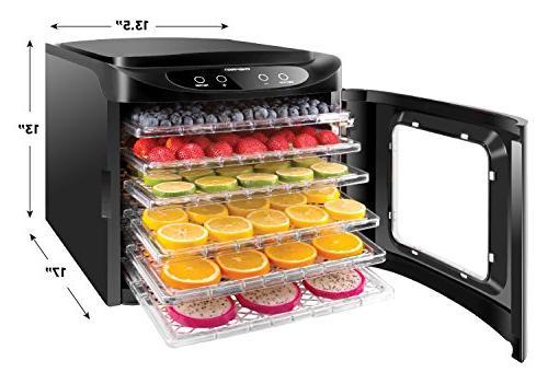 Chefman Electric Food Meat or Beef Jerky Maker, Vegetable Dryer 6 Slide Out BPA Free Drying Rack Trays & Transparent Door,