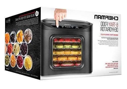 Chefman Dehydrator Electric Multi-Tier Food Meat or Beef Jerky Maker, Dryer 6 Slide Out Rack Trays Door, Black