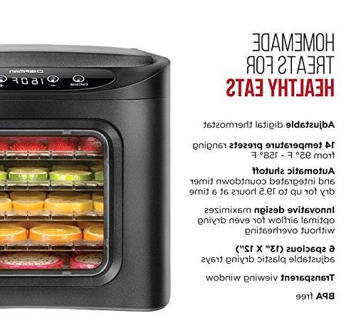 Chefman Food Dehydrator Electric Meat Maker, Dryer 6 Out Rack Trays & Transparent Door,