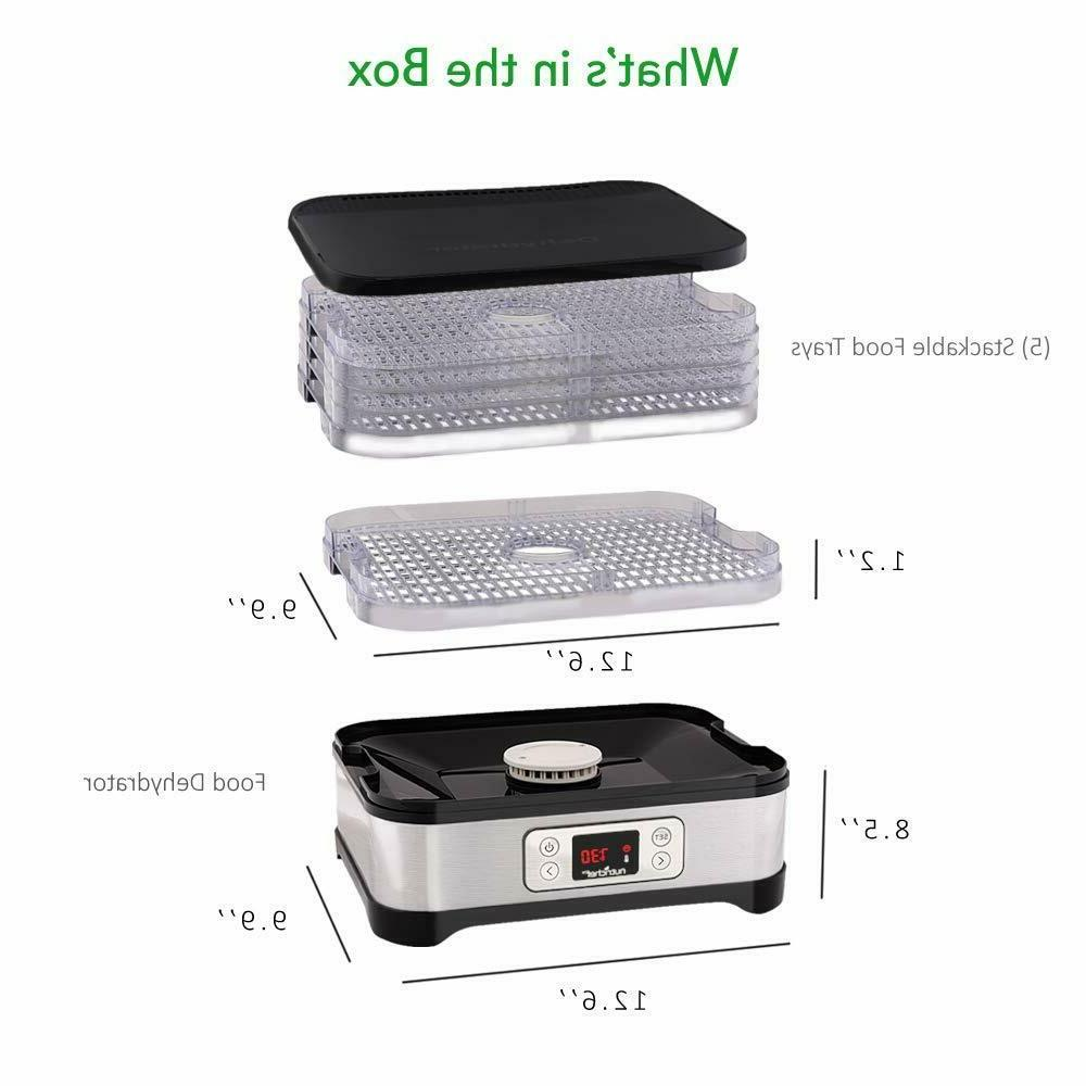 5 Food Dehydrator Timer,Temperature Control ,